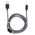 Braided Micro USB to USB 2.0 Data Sync & Charging Cable w/ Magnetic Ring for Android Phones - Black
