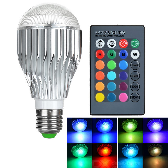 E27 3W 180lm RGB LED Bulb Lamp w/ Remote Controller - Silver (85~265V)E27<br>Form  ColorWhiteColor BINRGBMaterialAluminum + plasticQuantity1 DX.PCM.Model.AttributeModel.UnitPower3WRated VoltageAC 85-265 DX.PCM.Model.AttributeModel.UnitConnector TypeE27Chip BrandEpistarChip Type1 x 3W high power LEDEmitter TypeLEDTotal Emitters1Theoretical Lumens100~200 DX.PCM.Model.AttributeModel.UnitActual Lumens100~180 DX.PCM.Model.AttributeModel.UnitColor Temperature12000K,Others,N/ADimmableYesBeam Angle160 DX.PCM.Model.AttributeModel.UnitPacking List1 x LED lamp1 x Remote controller (Built-in 1 x CR2032 button cell)<br>