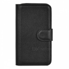 Lichee Pattern Flip-Open PU Case w/ Stand for Nokia Lumia 530 - Black