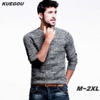 KUEGOU Men's Long-Sleeve Pullover Knitted Sweater - Black + Grey (L)