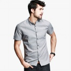 KUEGOU Men's Cotton Short Sleeve Shirt  (M)