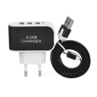 EU Plug 3-USB Power Charger + Flat Data Sync & Charging Cable Set for Android Phones - Black + White