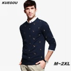 KUEGOU Men's Letter Embroidery Round Neck Sweater - Dark Blue (L)