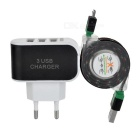 EU Plug 3-USB Charger + Braided Data Sync & Charging Cable Set for Android Phones - Black + White