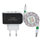EU Plug 3-USB Charger + Data Charging Cable Set - White + Black
