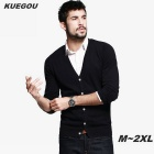 KUEGOU Men's Long-Sleeve Knitted Cardigan Sweater - Black (L)