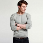 KUEGOU Men's Round Neck Elastic Long-Sleeved Plain T-Shirt  (L)