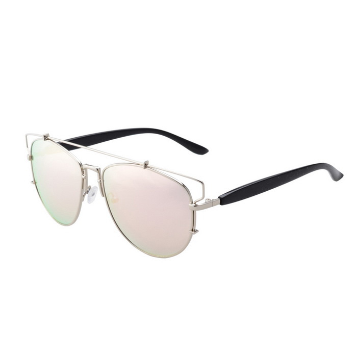 SENLAN UV400 Protection Metal Frame PC Sunglasses - Silver + Pink