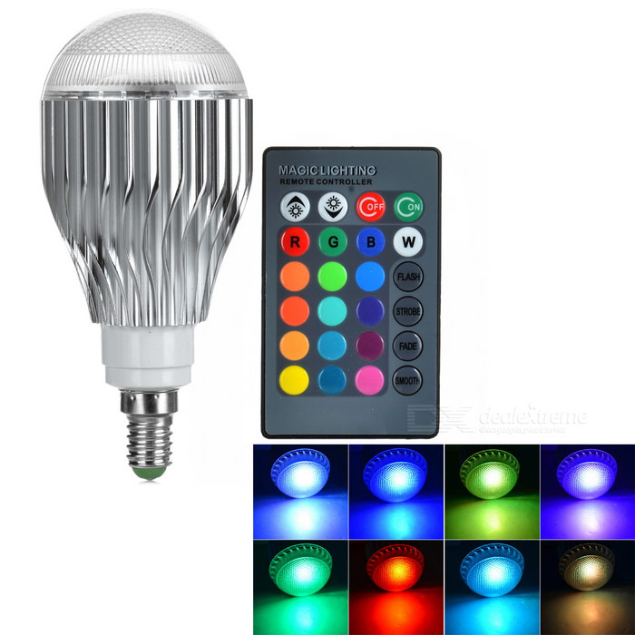 E14 3W 180lm RGB LED-lamp lamp w / afstandsbediening - zilver (85 ~ 265V)