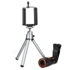 8X Telescope + Retractable Tripod Set for Cellphone - Black + Silver + Multicolor