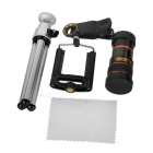 8X Telescope + Retractable Tripod Set for Cellphone - Black + Silver