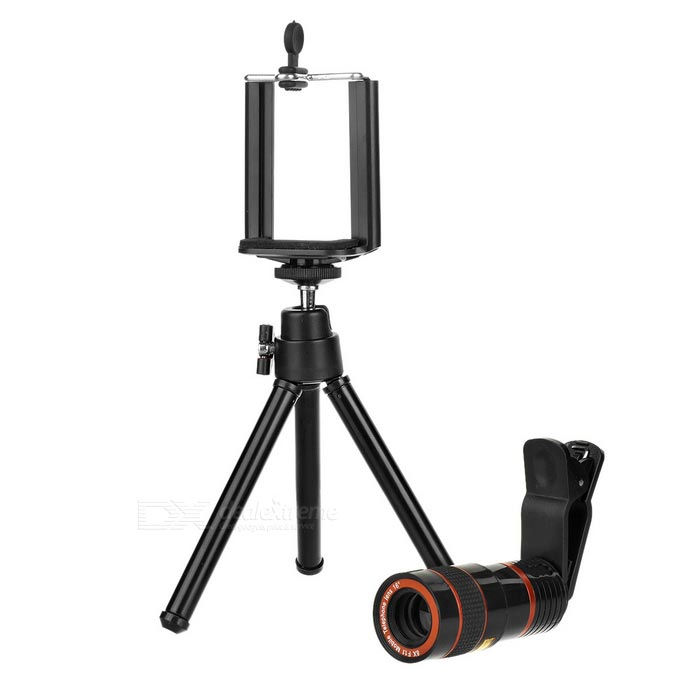 8X Telescope + Retractable Tripod Set for Cellphone - Black + RedLens &amp; Microscopes<br>Form ColorBlack + RedQuantity1 DX.PCM.Model.AttributeModel.UnitMaterialABS + aluminum alloyShade Of ColorBlackCompatible ModelsUniversalLens EffectsTelescopeMagnification8XOther FeaturesRetractable length of the tripod: 13.5~20cmPacking List1 x Telescope1 x Tripod 1 x Cellphone clip (5.5~8.5cm)1 x Clip1 x Clean cloth<br>