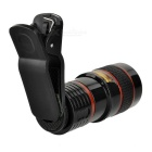 8X Telescope + Retractable Tripod Set for Cellphone - Black + Red
