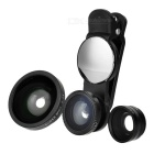 S-What Wide Angle + Fish Eye + Macro Camera Lenses Kit - Black