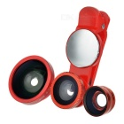 S-What Wide Angle + Fish Eye + Macro Camera Lenses Kit w/ Clip & Rearview Mirror for Phone - Red