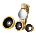 S-What Wide Angle + Fish Eye + Macro Camera Lenses Kit w/ Clip & Rearview Mirror for Phone - Golden