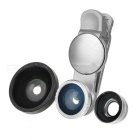 S-What Wide Angle + Fish Eye + Macro Camera Lenses Kit w/ Clip & Rearview Mirror for Phone - Silver