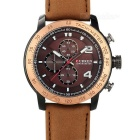 CURREN Men's PU Leather Wristband Analog Quartz Watch - Dark Brown (1 x 626)