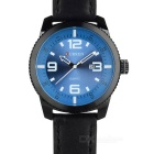 CURREN Men's Fashion PU Leather Wristband Analog Quartz Watch w/ Calendar - Black + Blue (1 x 626)