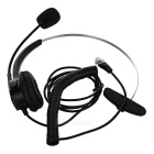 4Pin RJ11 Single Spring Earphone w/ Microphone / Clip - Black + Silver