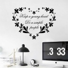 """Keep a Young Heart"" English Proverb Home Decoration PVC Wall Sticker Decal - Black"
