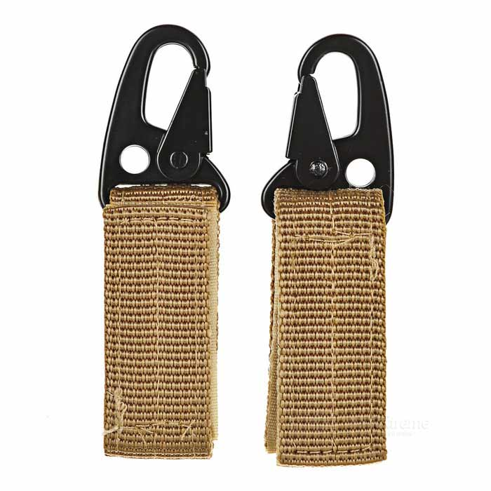 Molle Webbing Belt Hook Buckle Carabiner w/ Key Ring - Khaki (2PCS)