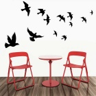 Flying Birds Pattern Home Decoration PVC Wall Sticker Decal - Black