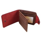Men's Cow Split Leather Casual Short Style Wallet - Coffee