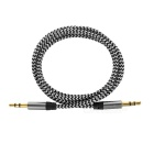 3.5mm Male to Male Braided AUX Audio Cable - Black + Grey (102cm)