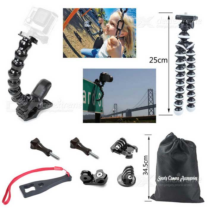 Jaws Flex Clamp Mount Kit + Tripod + Spanner for Gopro Hero Series