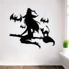 Halloween Witch + Bats Glass Window Decorated Living Room Bedroom Wall Sticker - Black