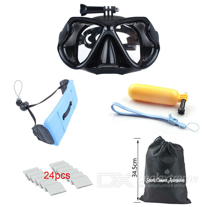 Diving Glasses, Floating Grip for Gopro Hero Session, Xiaoyi, SJ6000Other GoPro Accessories<br>Form ColorBlackQuantity1 DX.PCM.Model.AttributeModel.UnitMaterialPlasticShade Of ColorBlackPacking List1 x Diving glasses1 x Floating grip mount1 x Floating Wrist Strap24 x Anti-fog inserts1 x Bag<br>