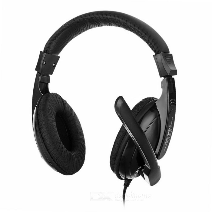 SENICC ST-2628 3.5mm Wired Headband Headphone w/ Microphone - Black