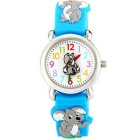 Creative 3D Cartoon Koala Pattern Silicone Band Children Quartz Analog Wrist Watch - Blue + Grey