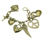 Jewelry Brass Cross + Heart-shape + Angel Wings Decorative Bracelet - Bronze