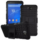 TPU + PC Armor Back Case w/ Stand for Sony Xperia E4 + More - Black