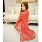 Festive Satin Bridal Gown Sexy Underwear Three-Piece Kimono - Red