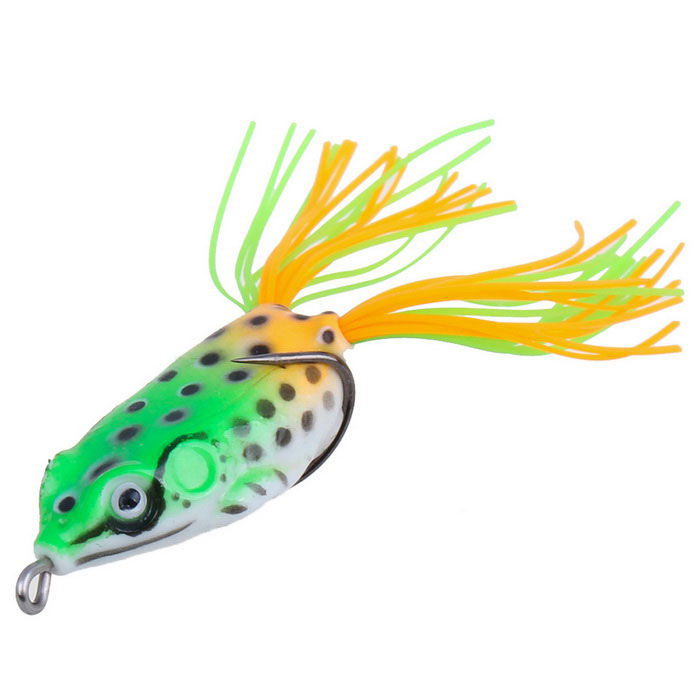 12g Large Size Frog Style Plastic Fishing Lure Bait w/ Hook - Green
