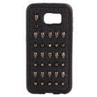 Fashion Cool Handmade Skulls + Rivets Protective TPU + PC Back Case for Samsung Galaxy S6 - Black