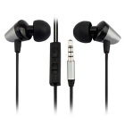 MGALL M6 3.5mm Metal In-Ear Bass Earphones w/ Mic. - Grey + Black