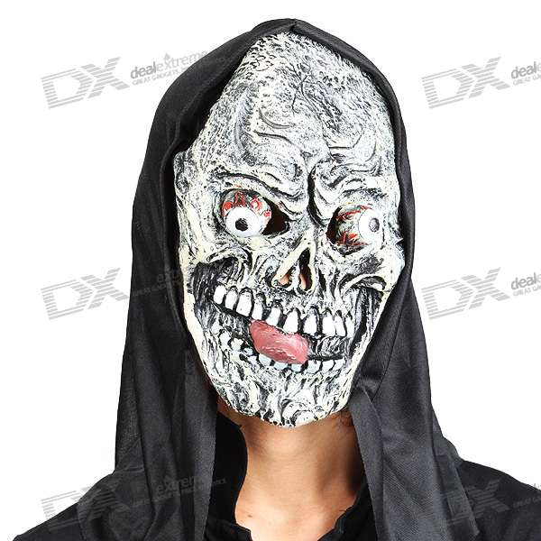Halloween Scary Devil Mask with Protruding Eyes and Tongue