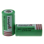FandyFire 3.7V 16340 800mAh Rechargeable Li-ion Batteries (2 PCS)