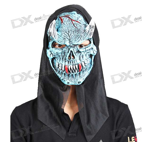 Halloween Scary Devil Mask with Horn and Long Teeth