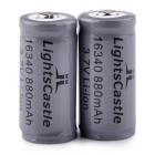 "LightsCastle 3.7V ""880mAh"" 16340 Rechargeable Li-ion Battery w/ PCB Protected Board - Silver Grey"