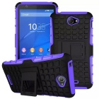 Protective TPU + PC Heavy Duty Armor Case Back Cover w/ Stand for Sony Xperia E4 - Purple + Black