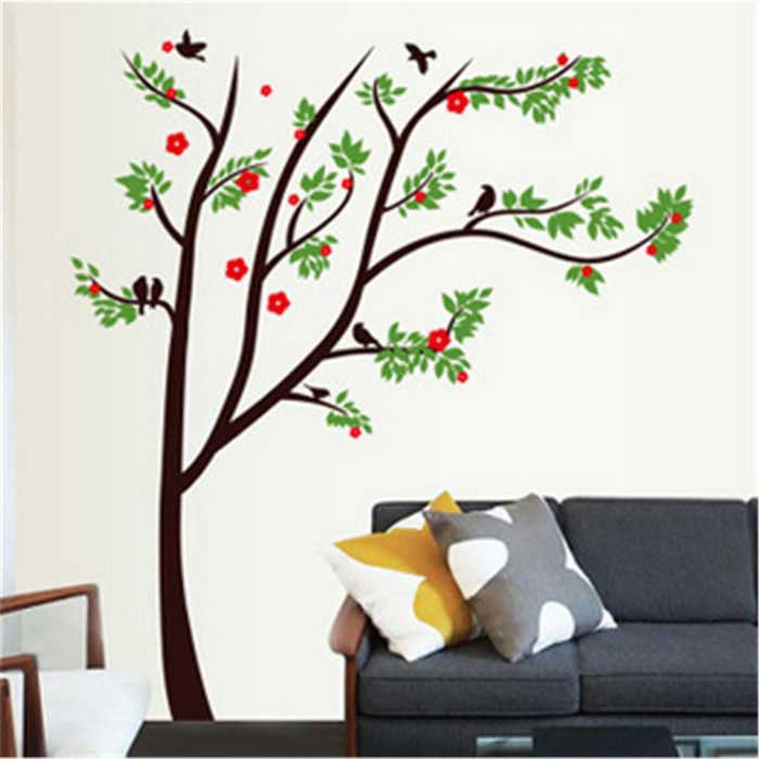 romantische bloemen boom patroon muur sticker PVC muur sticker - multicolor