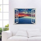 3D Effect Beautiful Landscape Wall Decals PVC Wall Stickers - Sapphire Blue