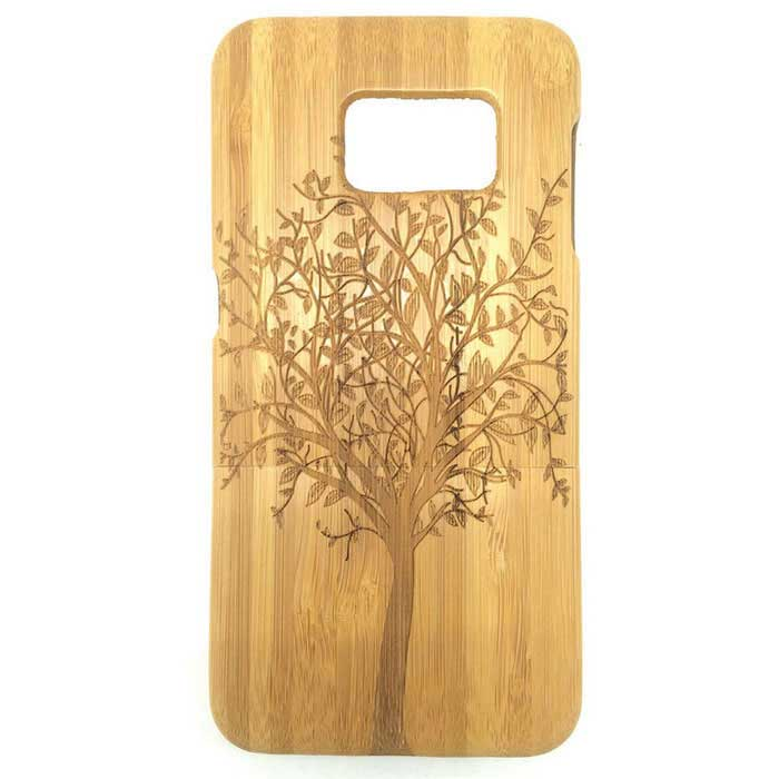 Big Tree Pattern Detachable Bamboo Case for Samsung S6 Edge - Yellow