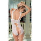 Women's See-Through Lace Open Breasts Sexy Lingerie Sleepwear - White