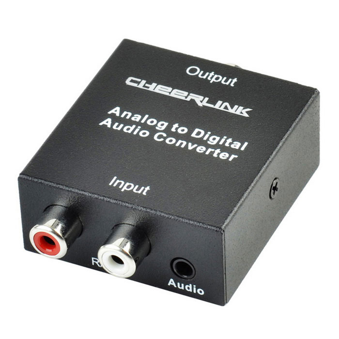 CHEERLINK Analog to Digital Audio Convertor - BlackAV Adapters And Converters<br>Form ColorBlack + Silver + Multi-ColoredMaterialAluminum alloy + electronic componentsQuantity1 DX.PCM.Model.AttributeModel.UnitShade Of ColorBlackCable Length116 DX.PCM.Model.AttributeModel.UnitConnectorOthers,RCA,Toslink,SATA,Coaxial, DC interfacePower AdapterEU PlugPower SupplyInput: AC 100~240V ~ 0.18A 50/60Hz;<br>Output: DC 5V 1A.CertificationCE, FCC, RoHSOther FeaturesIt provides electromagnetic noise-free transmission.<br>Easy to install and operate.<br>Input audio: R/L analog audio.<br>Output audio:  Coaxial or Toslink digital audio.<br>Input audio connector: 2 x RCA (R/L), 3.5mm.<br>Output audio connector: Toslink , 1 x RCA(Coaxial).<br>Sampling rate: 32, 44.1, 48 and 96 KHz.<br>Operating temperature: -15 C to +55C.<br>Operating humidity: 5% to 90% RH (no condensation).<br>Power adapter:  CE, FCC.Packing List1 x Converter1 x Power adapter (EU plug / Input : AC 100~240V 0.18A 50/60Hz / Output : DC 5V 1A, 116cm)1 x English manual<br>